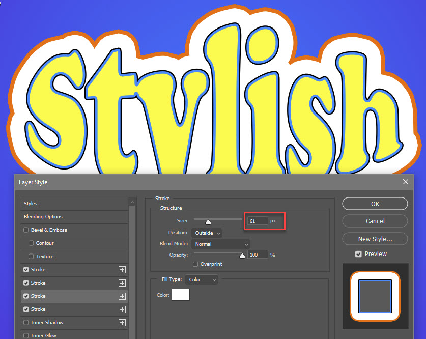 Multiple Strokes in Photoshop